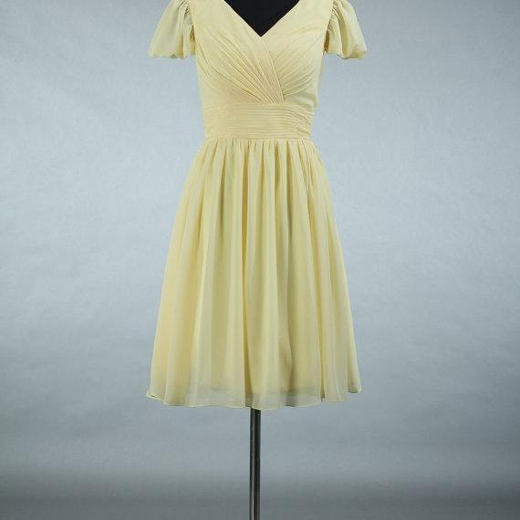 Yellow Bridesmaid Dresses, Cap Sleeves Bridesmaid Dresses, Backless Prom Dresses, Short Party Dresses